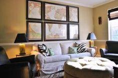 Framed maps in a living room
