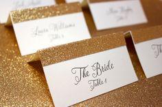 Cartons marque-places simples et glamour à paillettes dorées, Etsy