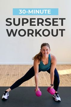 STRENGTH TRAINING meets HIIT CARDIO in this full body workout! We're using supersets to burn out the upper and lower body muscles in just 30 minutes. Trust me, it's a sweaty one!