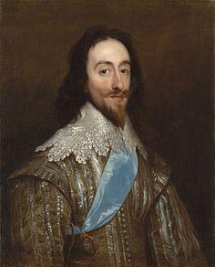 Karel I. Koning van Engeland, Schotland en Wales.  Hij werd onthoofd in 1642. (Gebeurtenis)