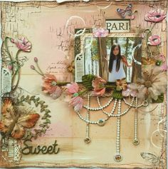 Mixed Media Scrapbook page by Gabrielle Pollacco using Dusty Attic Chipboard & Shimmerz Paints. Click on photo to find Video Tutorial for this page.