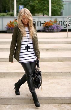 Love the cargo jacket + stripes. Would swap out the leather pants for jeans though.