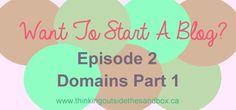 Want to start a blog series - All about domians