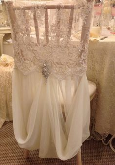 Allyson James Beaded Lace and Chiffon Chair Cover W/Brooch