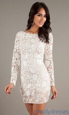 Embroidery Lace Column short cocktail dress UK with long Sleeves ...