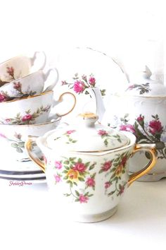 Vintage Moss Rose China Collection. Shabby chic roses. Porcelain China Mismatched set. Teapot. Teacups w  Dessert Lunch Plates.