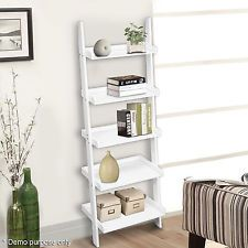 Wooden 5 Tier Leaning Ladder Shelf Unit Bookcase Display Wall Rack White