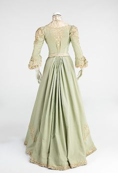 Promenade dress, light green wool, openwork, silk, ca. 1903, Metropolitan Museum of Art