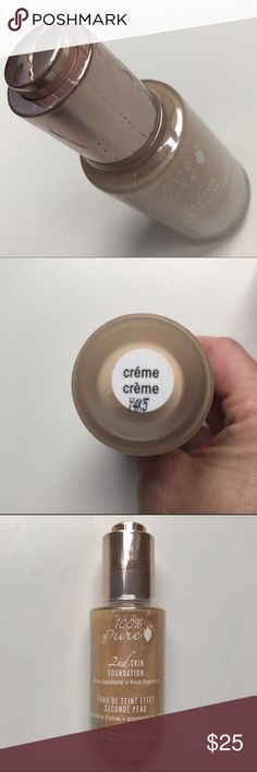 Creme • 2nd Skin Foundation • 100% Pure • NEW This sheer to moderate coverage foundation is vegan, formulated with olive-derived squalane oil. This oil is super light weight and balances sebum output without settling into acne or dry skin. 2nd Skin Foundation retails for $45. 100% Pure Makeup Foundation