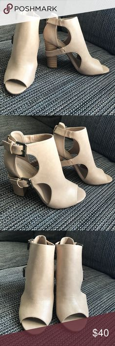 Peep-toe booties from shoedazzle! These booties have never been worn! They are comfortable, but are slightly too big for me. ShoeDazzle Shoes Ankle Boots & Booties