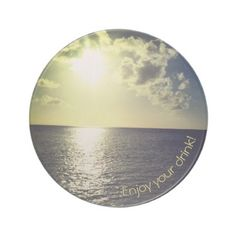 Light Tropical Sunset and Golden Bridge Drink Coaster - light gifts template style unique special diy