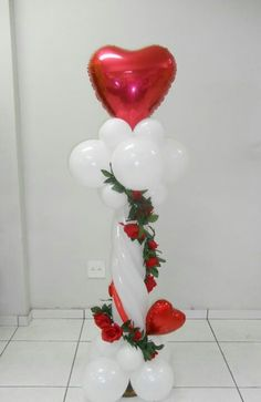 Heart balloon column