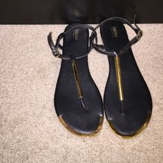 Black Sandals Black strap sandals. Size 7. Super adorable a dress or jeans. Only worn a few times, they were too big for me  Mossimo Supply Co. Shoes Sandals