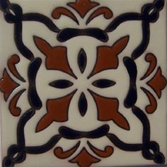 """Classic colonial relief tiles are highly decorative. They are handmade by Rustica House in Mexico and often used for kitchen backsplash and stair risers. Relief Tile """"Ayutla"""" by Rustica House. #myRustica"""
