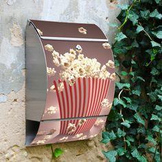 Edelstahl Briefkasten mit Motiv Popcorn von banjado via dawanda.com