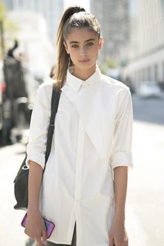 This classic white button-down has a subtle modern appeal.