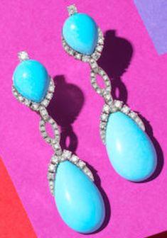 Turquoise Earrings, Color Shades, 18k Gold, Dangle Earrings, Dangles, Fine Jewelry, Feminine, Chain, Sterling Silver