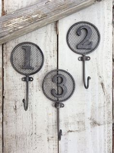 Number Hooks Wall Hooks Nursery Room Children's by CamillaCotton