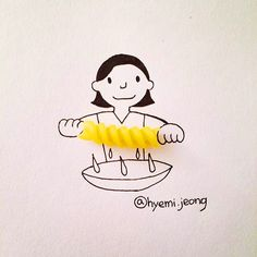 Creative Drawing Adorable Illustrations Made With Everyday Objects by Hyemi Jeong - Korean artist Hyemi Jeong uses everyday objects like jelly beans and band-aids to create adorable illustrations. More illustrations are available on her Creative Illustration, Creative Sketches, Art Sketches, Illustration Art, Funny Drawings, Art Drawings, Object Drawing, Creative Artwork, Everyday Objects