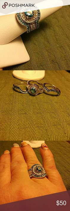 3 ring Wedding set blue topaz new Size 8 silver plated à great right hand ring Jewelry Rings