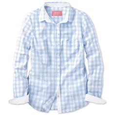Pale blue large gingham check slubby cotton shirt ($53) ❤ liked on Polyvore featuring tops, shirts, landry tops, blue gingham shirt, gingham top, men shirts, women tops and cotton henley shirt