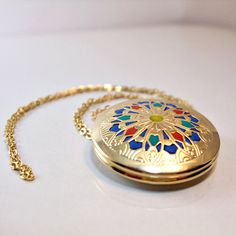 Gold Locket  gold jewelry victorian medallion  old style  jewlery handmade for her 2012 gold blue red on Etsy, $65.52 CAD