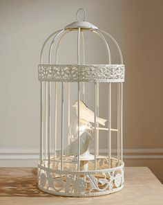 Decoration Pretty Birdcage Table Lamp Metal Material White Finish Two Faux Bird One Light Bulb Decorative Accent Stylish Home Decor Ideas Lighting Fixtures 27 Mesmerizing Birdcage Lamp