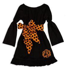 Girls Black Corduroy Orange Dot Sash Dress – Lolly Wolly Doodle