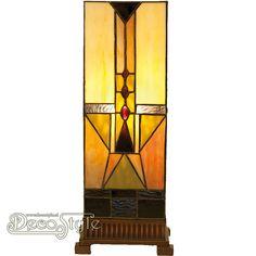 Tiffany Windlicht Jaseth Art Deco Large  Windlicht in Art Deco stijl.  Helemaal met de hand gemaakt van echt Tiffanyglas.  Dit originele glas zorgt voor de warme uitstraling. De voet is bronskleurig. Met 1x grote fitting (E27).  Met schakelaar in het lichtnetsnoer.  Afmetingen: Hoogte: 45 cm Breedte: 18 cm Diepte: 18 cm