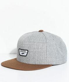 05635126512 Vans Full Patch II Grey   Brown Snapback Hat