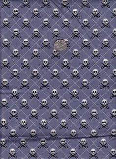 Fat quarter  Quilt Pirates in Gray  Michael Miller by mineymo, $2.75