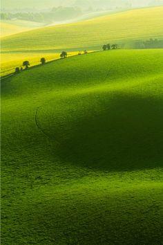 green rolling hills.