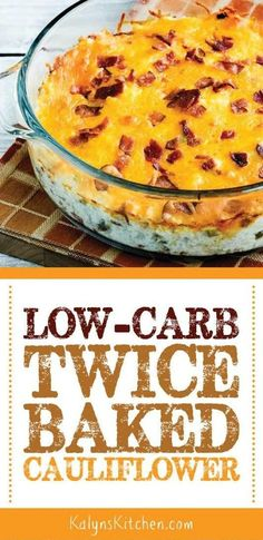 Low-Carb Twice-Baked Cauliflower has been one of my favorites for years; even confirmed cauliflower-avoiders will gobble this up! And this tasty side dish is low-carb, Keto, low-glycemic, gluten-free, and it can be made more South Beach diet friendly with Twice Baked Cauliflower, Keto Cauliflower, Cauliflower Low Carb Recipes, Cauliflower Side Dish, Low Carb Side Dishes, Side Dish Recipes, Dishes Recipes, Keto Foods, Baked Chicken