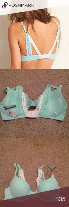 Aerie 34B Bridget Crochet Lace Back Bra Turquoise Aerie Bridget Push Up Bra in Alpha Turquoise, Size 34B.  It's kind of a slightly neon mint color but more subtle than neon...if that makes sense.  New with tags.  Tried on but never worn.  I already have one in another color and this one has been in storage since early 2016 so I am selling this to make space in my closet.  Super cute back detail, I'm kind of obsessed with it... Bundle & save 15% aerie Intimates & Sleepwear Bras