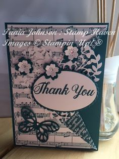 Tania Johnson : Stamp Haven, Musical Thank You, Stampin' Up! Bloomin Love, Bold Butterfly, Sheet Music, Island Indigo