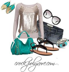 """""""sequins and turquoise"""" by cvock on Polyvore"""