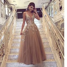 Beautiful Prom Dress, cheap prom dresses champagne prom dress handmade flowers prom dress deep v neck prom dress a line prom dress tulle prom dress Meet Dresses Champagne Evening Dress, Evening Dress Long, Evening Dresses, Evening Party, Champagne Prom Dresses, Cheap Gowns, Cheap Prom Dresses, Sexy Dresses, Formal Dresses