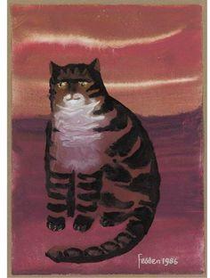 Mary Fedden, R.A. (b. 1915) - A tabby cat, 1986