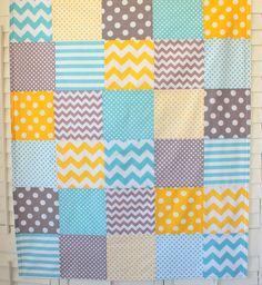 Baby Blanket Unisex Patchwork Baby Blanket Boy by theredpistachio