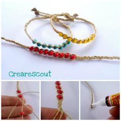 Twine and wooden beads [wish bracelets] tutorial in english