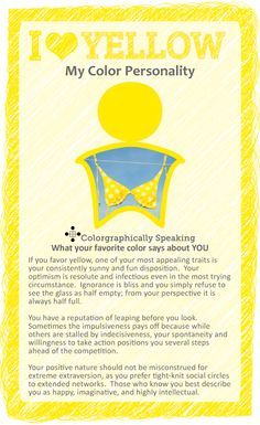 Wondering what your favorite color Yellow means? My Favorite Color is Yellow Meaning infographic has your answers. My Favorite Color, My Favorite Things, Favorite Color Meaning, Color Psychology, Psychology Meaning, Psychology Studies, Psychology Facts, Psychology Experiments, Spirituality