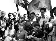 Robert F. Kennedy with Cesar Chavez, March 1968, Delano, California
