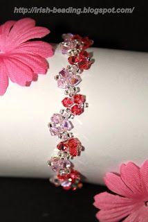 Irish Beading: Pink Flower Bracelet #Seed #Bead #Tutorials