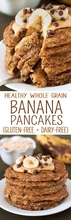 These healthy banana pancakes are our favorite! They're like banana bread in pancake form. {gluten-free, dairy-free, 100% whole grain, banana-sweetened}
