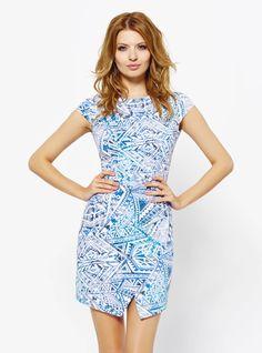 Sukienka Melanie we wzór w kolorze niebieskim