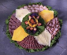 Sliced Meat and Cheese Party Tray from Joe's Produce One of our most popular party trays includes thin sliced ham, turkey, roast beef and hard salami accompanied by Swiss and American cheeses. Cheese Party Trays, Meat And Cheese Tray, Meat Trays, Meat Platter, Food Trays, Deli Platters, Deli Tray, Cheese Platters, Veggie Tray