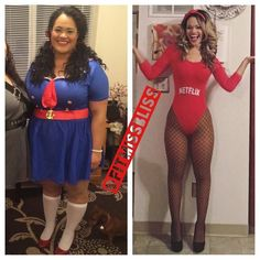"""Meet @fitmissbliss : Halloween done then and now. Funny story...I had actually lost some weight in the photo on the left and I rememever feeling REALLY """"small."""" Then when I saw photos of myself I somehow couldn't process that I was still he size that I was. Halloween was awesome this year! I wore EXACTLY what I wanted with total confidence. I had a lot of people leave incredibly hateful comments about my costumes and ME and it got to me for a bit. But then I stopped as realized- since when…"""