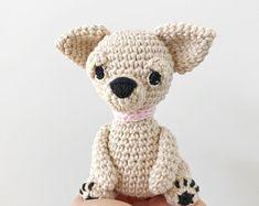 CHIHUAHUA crochet amigurumi with collar, Crochet chihuahua, amigurumi chihuahua, chihuahua lover gift, chihuahua baby gift, chihuahua toy