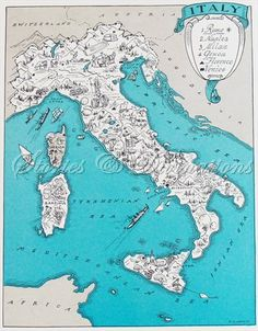 Map of Italy - Fun Italian Map - Vintage Map of Italy - A Fun and Funky 1930s Aqua Vintage Picture Map to Frame. $24.00, via Etsy.