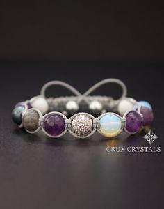 PURPLE AMETHYST, Women's Shamballa Gemstone Beaded Bracelet Crux Crystals, Wrap Bracelet, Natural Stone Macrame, Amethyst, Opal, Boho Stack